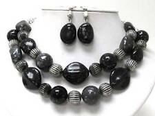 Two Layers Black Brown Lucite Patina Style Bead Silver Tone Necklace Earring Set