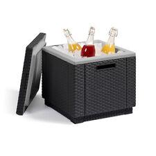 Allibert Ice Cube graphit Kühlbox Hocker Sitzhocker Beistelltisch Rattanoptik