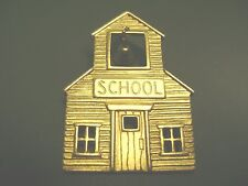 """SIGNED """"JJ"""" OLD FASHIONED SCHOOL HOUSE WITH BELL GOLDTONE  BROOCH!!"""