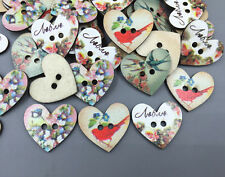 20pcs  Wooden sewing Heart-shaped buttons Magpie flower pattern Scrapbook 27mm