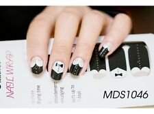 16 Pcs Kawaii Black Collar Nail Wrap Patch Self-adhesive Stickers MDS1046