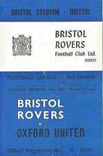 Football Programme - Bristol Rovers v Oxford United - Div 3 - 24/9/1966