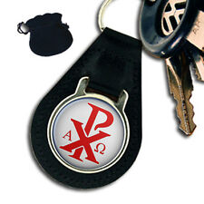 CHI-RHO CROSS  CHRISTOGRAM  ALPHA OMEGA  LEATHER KEYRING / KEYFOB GIFT