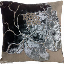 Camellia Cushion Cover Lorca Velvet Fabric Flaminia Shimmering Flower Square
