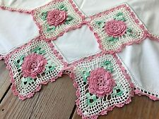2 Vintage Cottage Style White Cotton Pillowcases Pink Irish Crochet Lace 21X34