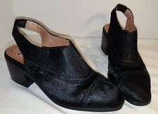 NEW JEFFREY CAMPBELL BLACK PECK COW HAIR SLINGBACK MULES WOMANS US 8