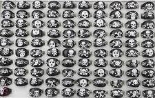 Wholesale lots Jewelry 50Pcs Resin Lucite Skull Child Black Rings FREE