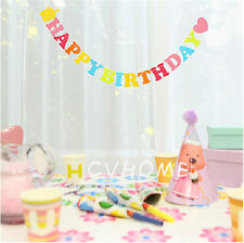 Fabric Garland Flags Bunting Banner Happy Birthday Celebration Party Decorations