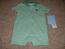 NEW Baby Boys Chaps Green Striped Polo Summer Shorts Romper Size 3M 3 Months NWT