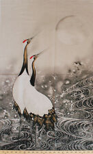 "24"" X 44"" Panel Greeting the Moon Japanese Crane Cotton Fabric Panel D563.12"
