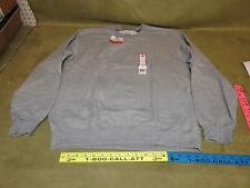 LARGE Fruit of the Loom Men's Long Sleeve Crew Sweat Shirt Pullover Steel grey