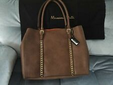 Massimo Dutti Leather Shopper Bag with Gold Chains NWT
