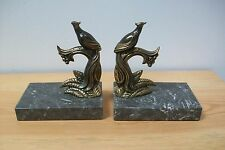 Vintage French Pair of Bookends, Birds of Paradise on Marble base #7