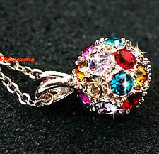 18k Gold Plated Swarovski Crystal Multicolor Round Wedding Ball Necklace N229