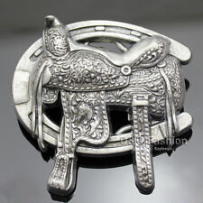 Vintage Silver Western Cowboy Horse Shoe Saddle Rodeo Belt Buckle Line Dance