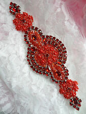 XR314 Red Beaded Rhinestone Applique Patch Motif Sewing Crafts 6""