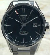 WAR2010.BA0723 NEW TAG HEUER CARRERA CALIBRE 7 TWIN TIME DATE WATCH W/BOX & CARD
