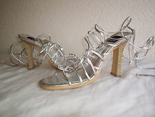 VINTAGE 80s STYLE SEXY LACE-UP LEG SILVER SANDALS.UNWORN.