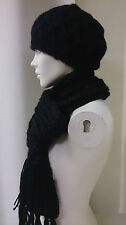 Burton Ladies Winter Black Woolen Hat and Scarf Set Warm Soft NEW in Packaging