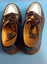 Pair Shoes Of T U K Creepers Two Tone Black & White UK Size 3 VGC Mod Ska