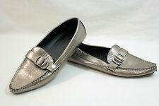 Salvatore Ferragamo Women's Metallic Leather Loafer Size 7 with Buckle