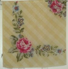 """TERRIART Butter, Pink, Blue TALBOT'S Stripes & Flowers SILK 35"""" Sq Scarf-Vintage"""