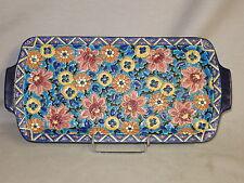 EMAUX de LONGWY ancien plat à cake gateaux fleurs Art Deco TBE /1