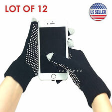 Wholesale Lot of 12 Touch Screen Gloves Smartphone Tablet Pad US Stock (BLACK)