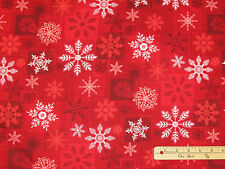 Holiday Magic Red Snowflake Christmas Henry Glass Fabric  by the 1/2 Yard #9803