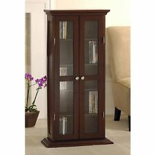 Storage Cabinet With Glass Doors Media Display Curio Modern Wood Contemporary