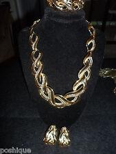 Napier Set Vintage Antique Necklace Earrings Braclet Gold Tone Statement  Thick