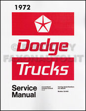 1972 Dodge Truck Shop Manual 72 Pickup Power Wagon D100-D800 W100-W300 Service
