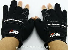 Black Abu Garcia Anti Slip Fishing Gloves Hunting Waterproof Size XL Hot Sale UK