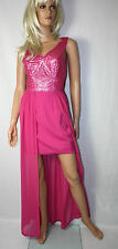 Love Label Kleid  Gr.42  Chiffon Pailletten  Maxikleid Party Sommer Lang Pink