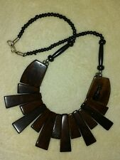 BEADED NECKLACE FASHION JEWELRY TRIBAL ETHNIC BROWN BLACK BOHO STATEMENT NEW