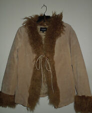 Vintage Express Tan Suede Jacket w/Mongolian Lamb Collar & Cuffs Size Large