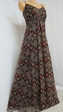 ~ LOVELY MONSOON KENITRA MAXI DRESS SIZE 16 BROWN GOLD ORANGE PRINT STRAPPY ~