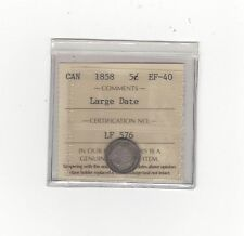 **1858 Large Date 8/8**, ICCS Graded Canadian,  5 Cent, **EF-40**