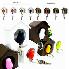 1 Set Sparrow Birdhouse Keychain Wall Hook Birdnest Holder Whistle Key Ring New