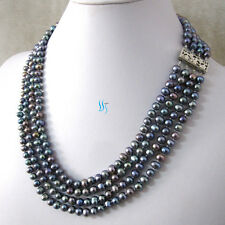 "18-21"" 5-6mm Dark Gray 4Row Freshwater Pearl Necklace Strand UK"