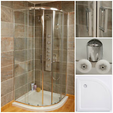 900 x 900 Quadrant Shower Enclosure Sliding Doors Thick Glass With Shower Tray