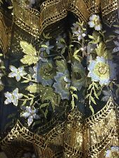 Embroidered Sequins Net  Lace Dress Wedding Evening Fabric Black/gold / White