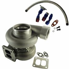 """GT45 600+HP T4/T66 3.5""""V-BAND 1.05 A/R 92 TRIM TURBO CHARGER+OIL FEED+DRAIN LINE"""