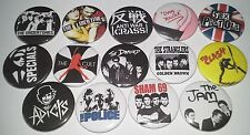 14 Punk badges The Police Jam Adicts Clash Crass Sex Pistols Undertones Specials
