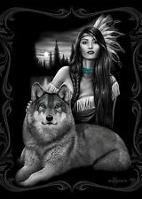 DGA Native Girl  and Harmony Wolf  Fiber Reactive Beach Towel 30x60 Inches