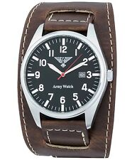 Accendersi Müller Army Watch EP 302 GERMAN AIR FORCE Mosca Ruhr 42 mm Orologio Uomo in Pelle
