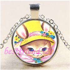 Easter Bunny Photo Cabochon Glass Tibet Silver Chain Pendant Necklace#K20