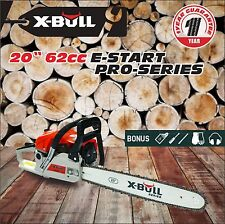 """X-BULL 62cc Petrol Commercial Chainsaw 20"""" Bar E-Start Chain Saw Tree Pruning"""
