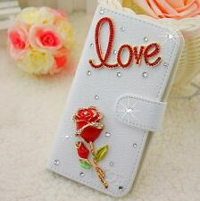 Bling Crystal Diamonds Bow PU leather flip slots stand wallet cover case skin Y4