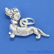DACHSHUND DOG MOVABLE MOVING HEAD 3D .925 Solid Sterling Silver Charm